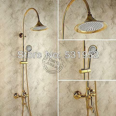 free shipping brass copper classic gold big shower and bath set showerpipe shower system one single handle with diverter,White
