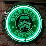 Neon Horloge Star Wars Coffee Vert Néon de Atelier Horloge murale de Publicité–États-Unis 50's Style