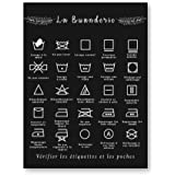 ETBGYKOU Français blanchisserie Symbole Signe Imprime Noir et Blanc Affiche Mur Art Photo Toile Peinture buanderie décor 50x7