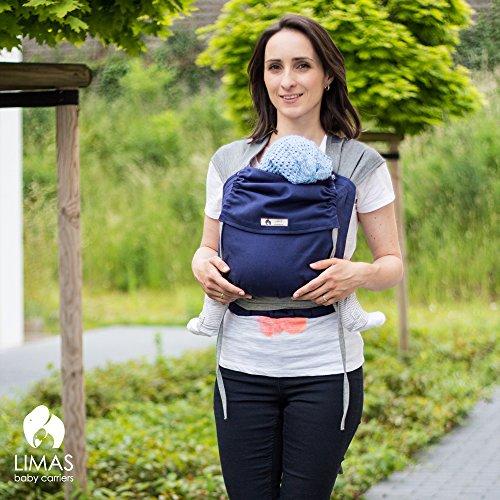 LIMAS Babytrage BIO-Baumwolle, wendbare Bauch-, Rücken- und Hüfttrage - Blau/Grau - 2