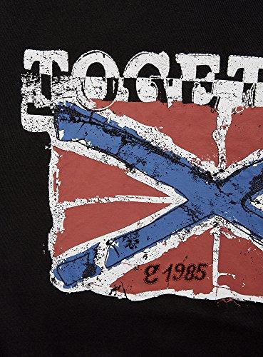 "oodji Ultra Herren Gerades T-Shirt mit ""Flagge"" Print Schwarz (2945P)"