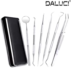 DALUCI 6 Pcs Dental Hygiene Kit Stainless Steel Tarter Scraper, Tooth Pick, Dental Scaler And Mouth Mirror Dentist Home Use Tools