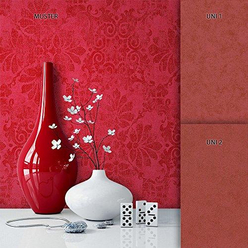 NEWROOM Tapete Metallic Ornament Barock Vliestapete Rot Vlies moderne Design Optik Barocktapete Wohnzimmer Glamour inkl. Tapezier Ratgeber