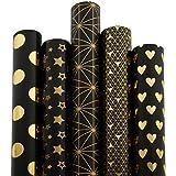 RUSPEPA 5 Rolle Geschenk Wrapping Paper Roll - Schwarz Und Gold Folie Muster - 76Cm X 305Cm Pro Rolle