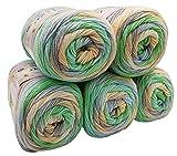 5 x 100g Babywolle Bebe Batik mehrfarbig, 500 Gramm Wolle zum Stricken und Häkeln (grün blau beige creme 6538)