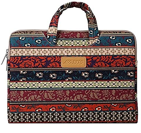 MOSISO Bohemian Canvas Fabric Laptop Briefcase Handbag Case Cover for 15-15.6 Inch MacBook Pro, Notebook Computer, Mystic Forest
