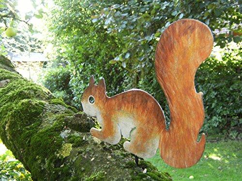 Arbre Figurine écureuil skip Décoration de jardin en métal peint à la main