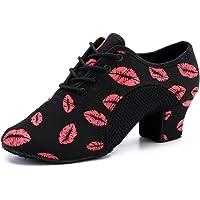 HIPPOSEUS Scarpe da Ballo Latino con Lacci per Donna e Uomo Scarpe da Ballo per Salsa da Sala da Ballo con Punta Chiusa…