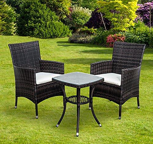 Outsunny Garden Outdoor Rattan Furniture Bistro Set Patio Weave panion Cha