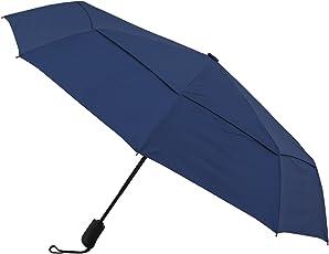 Amazon Brand - Solimo Automatic Travel Umbrella with Wind Vent - Blue