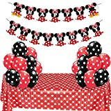 JOYMEMO Minnie Mouse Party Supplies Rouge et Noir pour Les Filles Joyeux Anniversaire bannière Nappe Ballons à Pois pour la fête d'anniversaire, décorations de Douche de bébé