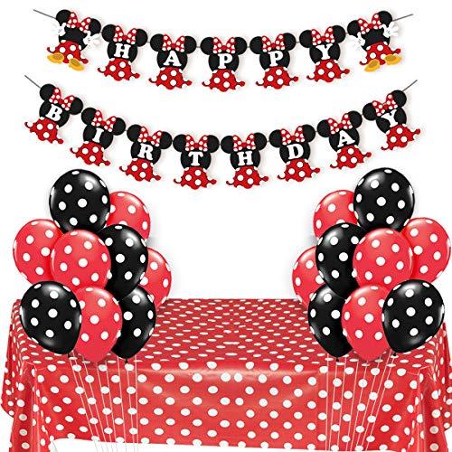 JOYMEMO Minnie Mouse Party Supplies rot und schwarz für Mädchen Alles Gute zum Geburtstag Banner Polka Dot Ballons Tischdecke für Geburtstagsfeier, Baby-Dusche-Dekorationen