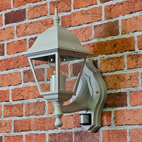 Aluguss Gartenlaterne'Tirol' in weiß-grau mit Bewegungsmelder E27-Fassung Wandlampe für Außen mit...