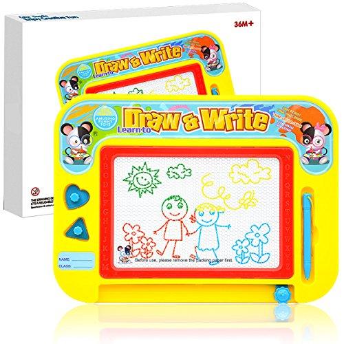 Kleinkind Magnetische Zeichnung (Zeichenbrett für Kinder, für große Colorful Skizzieren Doodle Painting Board Skizzenblock mit 3Stifte und 2Stempel für Kinder, Kleinkinder, Babys, Jungen und Mädchen, große Bildungs-Spielzeug)