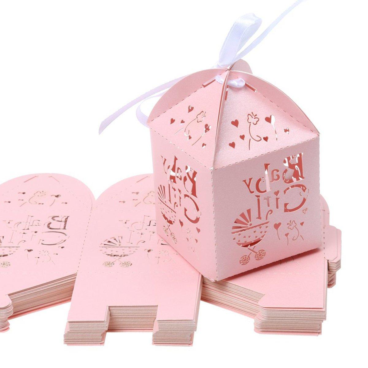 LEORX CANDY regalo scatole di favore matrimonio festa di nozze Decor, 50�pezzi (Rosa)