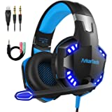 Gaming Headset für PS4 PC Xbox One mit Mikrofon, Over Ear Stereo Sound Gamer Kopfhörer PS4 with Noise Cancelling Mic LED Lich