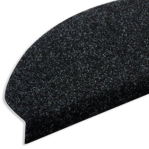 casa pura Textilfaser - Stufenmatten für attraktive & sichere Treppenstufen | Set mit 15 Stück | robuste Allzweck-Matten für Stufen (anthrazit)
