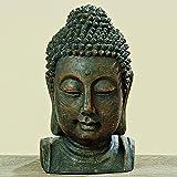 Fernöstliche Buddhakopf Figur Skulptur Kunstharz 26cm Gartenfigur Geschenk Dekoration