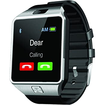 AE MOBILE ACCESSORIES SW-M9 Bluetooth Smart Watch Phone With Camera and Sim Card Support (Silver)
