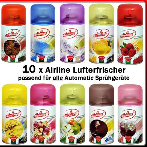 10 x Airline / Fresh Line (new) Lufterfrischer Mix für Airwick Fresh Matic 250ml (passend für alle Automatic Sprühgeräte)Zimt, Lavendel, Floral Bouqet, Citrus, Apfel, Vanille, Berries, Anti-Tabak, Ocean, Kirschblüte (Airline)