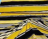 Stoff hochwertiger Feinjersey Jersey gelb schwarz grau