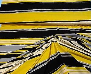 stoff hochwertiger feinjersey jersey gelb schwarz grau wollwei weiss gestreift streifen strand. Black Bedroom Furniture Sets. Home Design Ideas