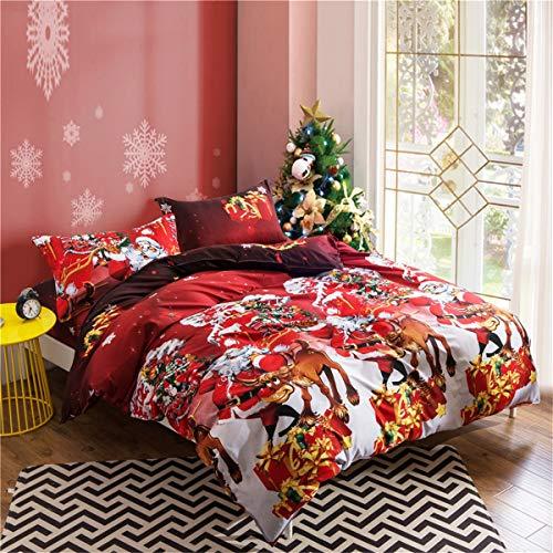 Ccsyso copripiumino natalizio, renne copripiumino rosso natalizio in tre pezzi. (size : 230×264)