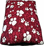 Dog Bed Pet Supplies Large Extra XL Size Zip Cover With Inner Cushion Free P&P (Large (29'x39'inches), Maroon Paws)