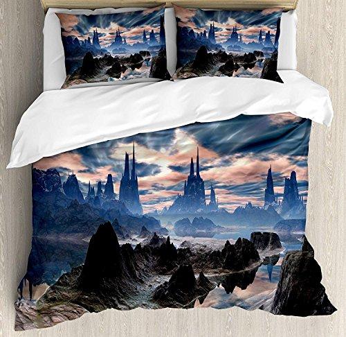 Fantasy 3-teiliges Bettwäscheset Bettbezugset, Stormy Apocalypse Sky mit Wolken über Rock Towers auf Alien World, 3-tlg. Tröster- / Qulitbezugset mit 2 Kissenbezügen, Dunkelblauer Pfirsich, Dunkelbrau (Tower Tröster)
