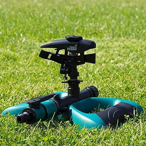 Aspersor de Riego K-200 de Oasis Ahead Con Cabeza de Impacto de Largo Alcance para Regar el Césped de tu Jardín con Hasta 360 Grados con Válvula de Cierre de Agua y Base de Metal Ponderado