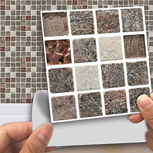 "APSOONSELL Pack of 18 pcs Mosaic Tile Transfers for Bathroom Kitchen Stick on Wall Tile Stickers, Peel and Stick Self-Adhesive Wall Tiles - 4"" x 4"" (10cm x10cm),Stone Mosaic"