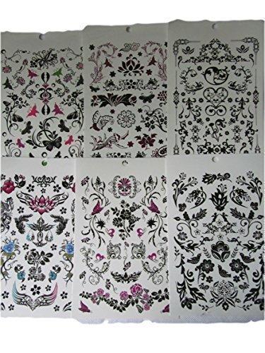 Un Book of 6 Feuilles Femmes Filles Noir Celtique Tribal Papillons fleurs vines style Tatouages Temporaires pour fêtes, cadeaux, etc - par Fat-catz-copy-catz