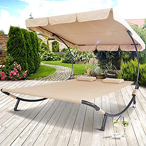 Miadomodo Sun Lounger Double Day Bed Hammock Chaise Outdoor Shade Canopy Garden Furniture in Different