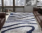 #9: TAUHID CARPET Super Soft Sahgy Collection Indoor Modern Shag Area Silky Smooth Rugs Fluffy Rugs Anti-Skid Shaggy Area Rug For Dining Room Home Bedroom Carpet 2.9 X 5 Feet L Grey & D Grey.