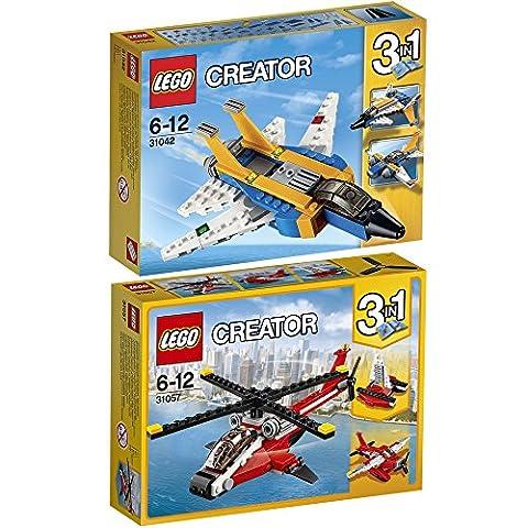 Lego Creator 3-in-1 2er Set 31042 31057 Düsenjet + Helikopter