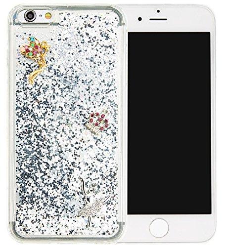 Nnopbeclik Silikon Hülle Transparent Für Apple Iphone 6 Plus / 6S Plus, Durchsichtig Ultra Slim TPU 3D Fließende Flüssigkeit Shiny Weich Schutzhülle Tasche Bunt Muster mit Diamant Applikationen [DIY M #10