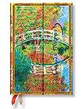 Paperblanks Agenda 2019 avec marque-page & poche intérieure, motif Le Pont japonais de Monet, lettre à Berthe Morisot, une page par semaine + notes, taille mini, 140 x 100 mm