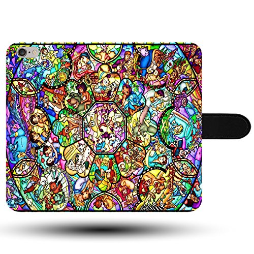 Stained Glass Pattern Artowork Disney World Family Faux Leather Magnetic Clasp Holder Phone Case Cover for iPhone 7 Disney World Phone Case