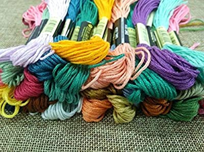Liroyal Embroidery Thread, 100% Cotton, 35 x Assorted Coloured Skeins