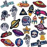21 piezas Parches Ropa Termoadhesivos, Ouinne Patrón de Astronauta Pegatina de Parche Bordados Cosidos Costura de ApliquesDecoración DIY
