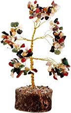Petrichor Fengshui Multi Gem Stone Good Luck Tree Home Decoration and Gifting