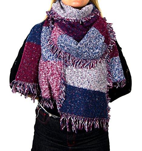 Damen Herbst Winter Schal XXL riesig und extrem flauschig dick Baumwolle Poncho Scarf Blogger kariert Fransen (A-04)