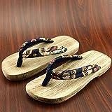 XIAMUO In stile giapponese zoccoli in legno maschio e femmina in legno amanti pantofole uomini estate antiscivolo scarpe di legno flip-flop, 26 cm 41-42 metri, fiori di nero a metà mese toe