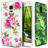Galaxy S5 Hülle,Galaxy S5 Neo Hülle,Galaxy S5/S5 Neo Schutzhülle,Bunte Gemalt Muster [Leuchtend Luminous] Handyhülle TPU Silikon Hülle Handy Hülle Tasche Schutzhülle für Galaxy S5,Rosa Pfingstrose