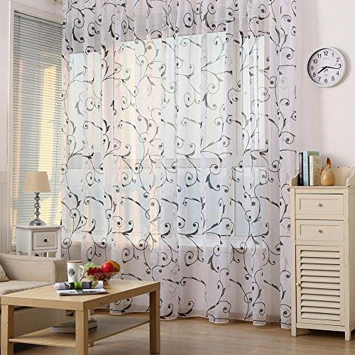 Pb peggybuy Fenster Vorhang-Tüll Tür Fenster Floral Voile Vorhang & Sheer Fenster Vorhänge für Wohnzimmer & Schlafzimmer Schwarz -