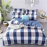DOTBUY Bettbezug Set, 3 Stück Super Weiche und Angenehme Mikrofaser Einfache Bettwäsche Set Gemütlich Enthalten Bettbezug & Kissenbezug Betten Schlafzimmer (220x240cm, Blau)