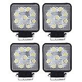 VINGO® 4X 27W Arbeitsscheinwerfer LED 12v Arbeitslicht Auto Scheinwerfer Lampe 6500K Weiß Für Trecker Offroad KFZ Bagger SUV