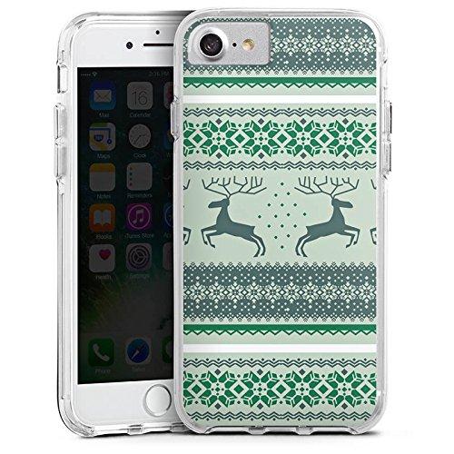 Apple iPhone 7 Bumper Hülle Bumper Case Glitzer Hülle Rentiere Weihnachten Christmas Bumper Case transparent