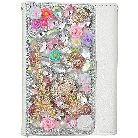 spritech (TM) PU Leder Wallet Case 3D Handmade Bling Lila Kristall Design Blume Schmetterling verziert SIM Smartphone geschützt zusammenklappbar weiß Schutzhülle mit Kartenfächer, (Headset Seal)