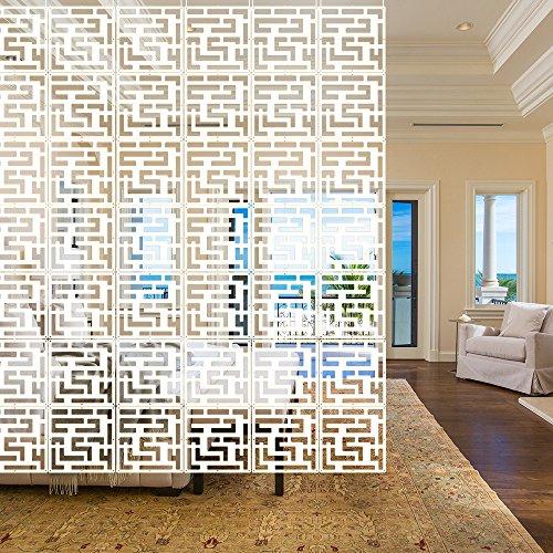 Y-Step 12 Stück hängende Raumteiler Bildschirm Screen Hängepaneel Hängeleinwand Wand Fenstergitter für Zuhause Hotel Büro Bar Dekoration Pattern -